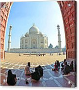 Taj Mahal In Fisheye Acrylic Print