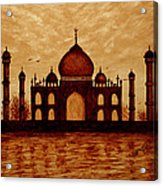 Taj Mahal Lovers Dream Original Coffee Painting Acrylic Print