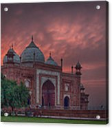 Taj Mahal Mosque At Sunset Acrylic Print