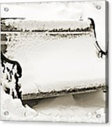 Take A Seat  And Chill Out - Park Bench - Winter - Snow Storm Bw 2 Acrylic Print