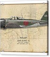 Takeo Tanimizu A6m Zero - Map Background Acrylic Print