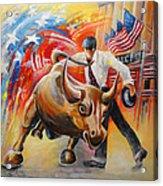 Taking On The Wall Street Bull Acrylic Print