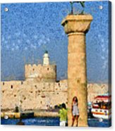 Taking Pictures At The Entrance Of Mandraki Port Acrylic Print