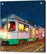Taking The T At Night In Boston Acrylic Print by Mark E Tisdale