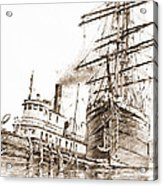 Tall Ship Assist Sepia Acrylic Print