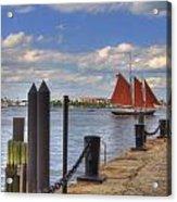 Tall Ship The Roseway In Boston Harbor Acrylic Print by Joann Vitali