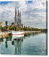 Tall Ships And Palm Trees - Impressions Of Barcelona Acrylic Print