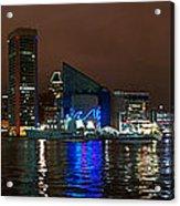 Tall Ships At Night Pano 2 Acrylic Print