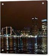 Tall Ships At Night Panorama Set Panel 1 Acrylic Print
