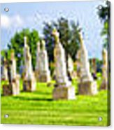 Tall Tombstones Panorama Acrylic Print by Thomas Woolworth