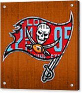 Tampa Bay Buccaneers Football Team Retro Logo Florida License Plate Art Acrylic Print