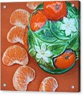 Tangerine Slices And Ceramics Acrylic Print