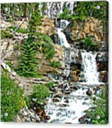 Tangle Falls Along Icefield Parkway In Alberta Acrylic Print