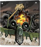 Tank Plinking With The A-10 Acrylic Print