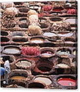 Tanning Vats In Morocco Acrylic Print by Carl Purcell
