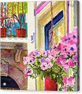 Taormina- Hanging Petunias Acrylic Print