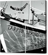 Tarpon Springs Spongeboat Black And White Acrylic Print