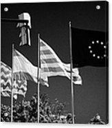 Tarragona Spanish Catalan And Eu Flags Flying Catalonia Spain Acrylic Print
