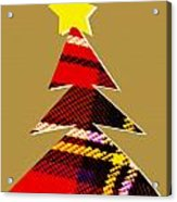 Tartan Christmas Tree On Gold Acrylic Print