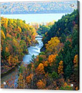 Taughannock River Canyon In Colorful Autumn Ithaca New York Panoramic Photography  Acrylic Print
