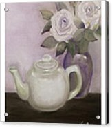 Tea And Roses Acrylic Print by Nancy Edwards