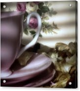 Tea Cups And Roses Acrylic Print