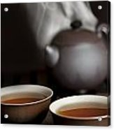 Tea In Cups With A Steaming Pot In The Acrylic Print
