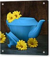 Tea Kettle With Daisies Still Life Acrylic Print by Tom Mc Nemar