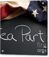 Tea Party Political Sign On Chalkboard Acrylic Print