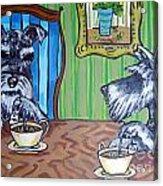 Tea Time For Schnauzers Acrylic Print by Jay  Schmetz