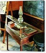 Teacher - Teacher's Desk With Hurricane Lamp Acrylic Print by Susan Savad