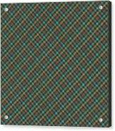 Teal And Green Diagonal Plaid Pattern Fabric Background Acrylic Print