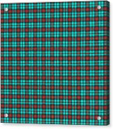 Teal Red And Black Plaid Fabric Background Acrylic Print