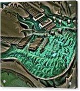 Teal Steel Digital Guitar Art By Steven Langston Acrylic Print