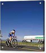 Team Time Trial Chasing A Tanker Truck Acrylic Print