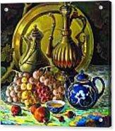 Teapot And Brass Vases Acrylic Print