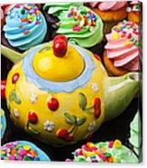 Teapot And Cupcakes  Acrylic Print