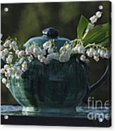Teapot And Lily Of The Valley Acrylic Print