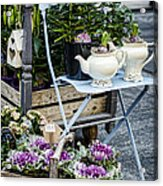 Teapots And Flowers Acrylic Print