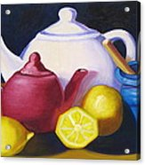Teapots In Primary Colors Acrylic Print
