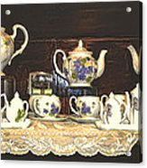 Teapots On Grundge Acrylic Print