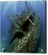 Technical Divers On The Giannis D In The Red Sea  Egypt Acrylic Print