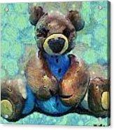 Teddy Bear In Blue Acrylic Print