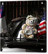 Teddy Bear Ridin' On Acrylic Print by Christine Till