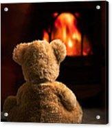 Teddy By The Fire Acrylic Print by Amanda Elwell
