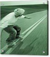 Teenager Skateboarding Down Road Acrylic Print