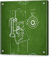 Telephone Patent Drawing From 1898 - Green Acrylic Print