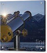 Telescope And Sunrise Acrylic Print
