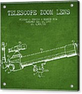 Telescope Zoom Lens Patent From 1999 - Green Acrylic Print