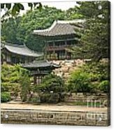 Temple By Lake And Forest Seoul South Korea Acrylic Print